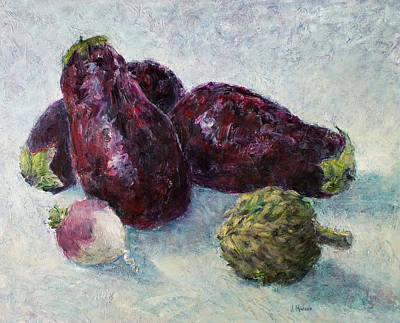 Painting - Eggplants, Artichoke And A Turnip by Jill Musser