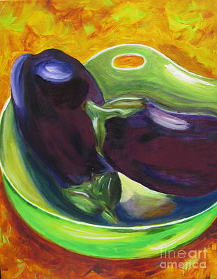 Italian Kitchen Painting - Eggplants by Dani Altieri Marinucci