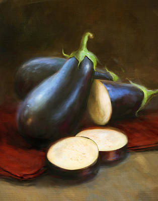 Food And Beverage Wall Art - Painting - Eggplants by Robert Papp