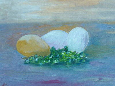 Impasto Painting - Eggs And Capers by Conor Murphy