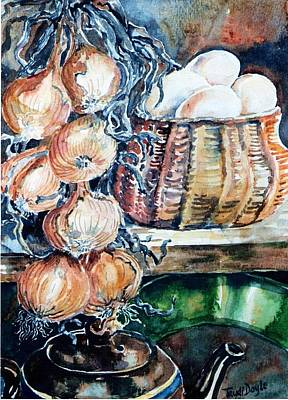 Watercolour Art Painting - Eggs And Onions In The Larder  by Trudi Doyle