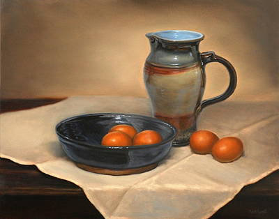 Painting - Eggs And Pitcher by Linda Merchant