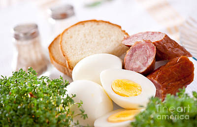 Watercress Photograph - Eggs And Sausage Traditional Easter Food by Arletta Cwalina