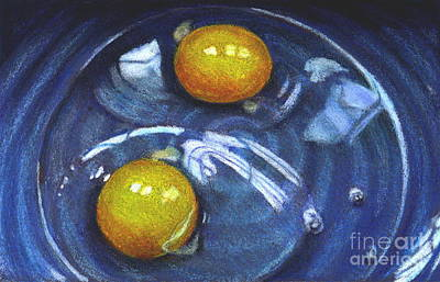 Still Life Drawings - Realistic Eggs in Blue Bowl by Joyce Geleynse