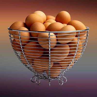David Drawing - Eggs In Wire Basket  by Movie Poster Prints