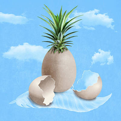 Pineapple Digital Art - Eggs On A Feather by Absentis Designs