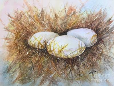 Painting - Eggs On Straw by Lucia Grilletto