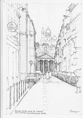 Sacre Coeur Drawing - Eglise Notre Dame De Lorette Paris by Dai Wynn