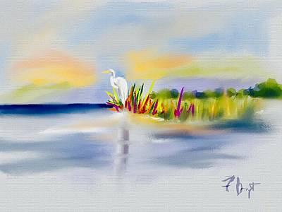 Digital Art - Egret Bliss by Frank Bright