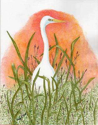 Painting - Egret Color In Sunset by Peggy A Borel