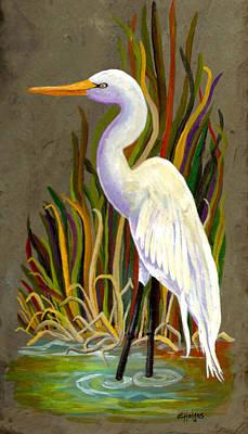 Bayou Painting - Egret by Elaine Hodges