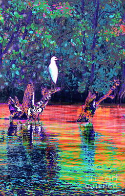 Digital Art - Egret by Expressionistart studio Priscilla Batzell