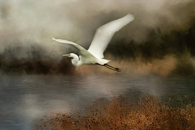 Digital Art - Egret Flight by TnBackroadsPhotos