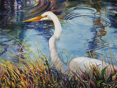 Egret In Cameron Marsh Art Print by Sue Zimmermann