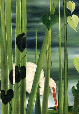 Art Print featuring the painting Egret In Reeds by Anne Beverley-Stamps