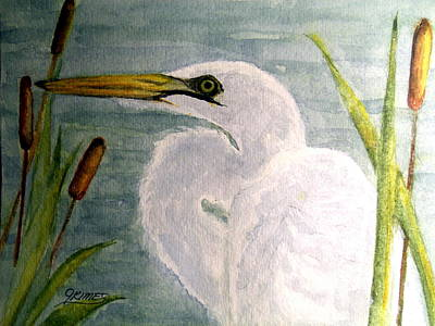 Painting - Egret In The Cattails by Carol Grimes