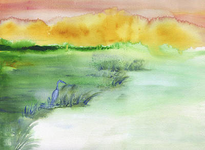 Painting - Egret Landscape Abstract by Frank Bright