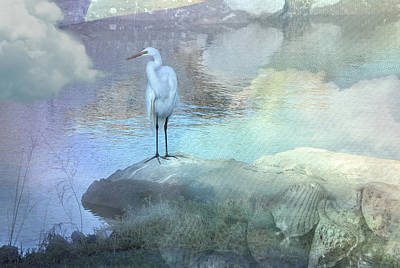 Digital Art - Egret Lookout by Annie Omens