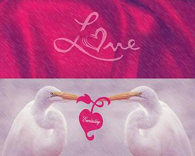 Photograph - Egret Love Card by Leticia Latocki