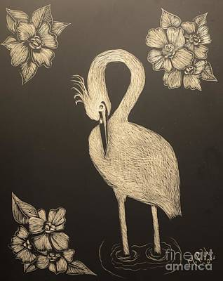 Egret Drawing - Egret by Maria Urso