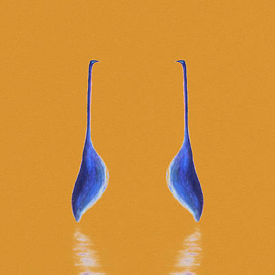 Painting - Egret Mirrored On Orange Square by Gecko Joy