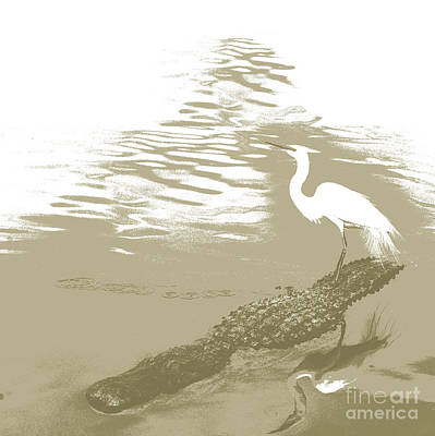 Alligator Mixed Media - Egret On Gator Lake by Francelle Theriot