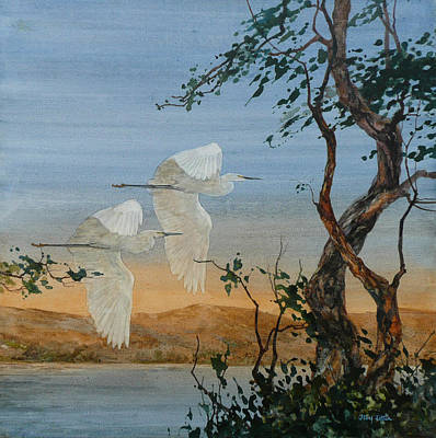 Wall Art - Painting - Egret Pair by Floy Zittin
