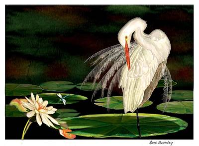 Art Print featuring the painting Egret Pruning In Lily Pads by Anne Beverley-Stamps