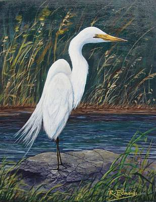 Marsh Scene Painting - Egret by Raymond Edmonds