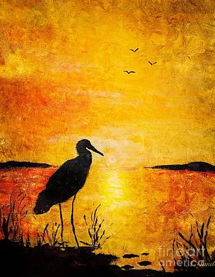 Painting - Egret Silhouette by Anne Sands