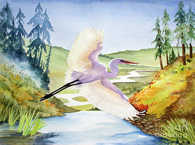 Painting - Egret Soaring by Beverly Martin