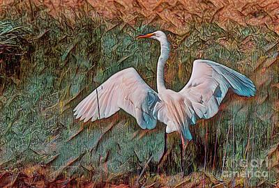 Painting - Egret Wall Art by Deborah Benoit