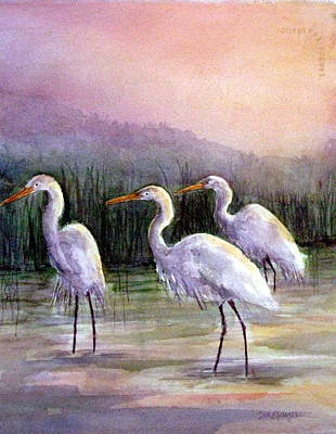 Egrets At Sunset Print by Suzanne Krueger