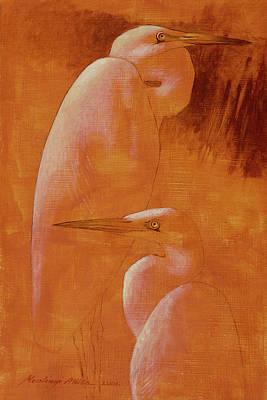 Painting - Egrets by Attila Meszlenyi