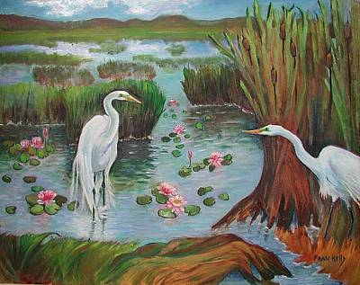 Painting - Egrets Courting by Fran Kelly