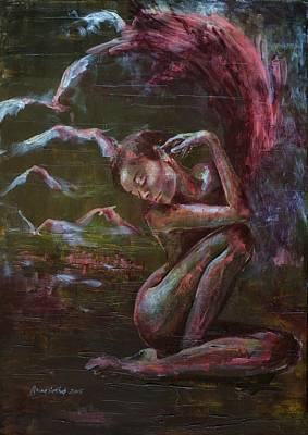 Painting - Egrets by Dorina Costras