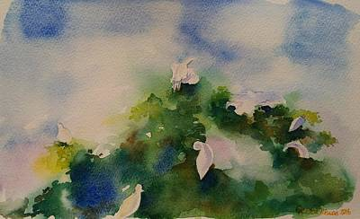 Painting - Egrets Impressionistic Watercolor Gift by Geeta Biswas