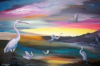 Egrets In Flight Art Print
