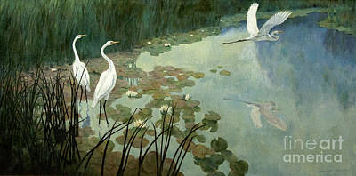 Landscape Painting - Egrets In Summer by Celestial Images