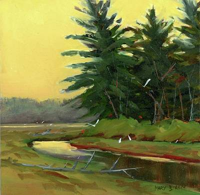 Painting - Egrets In The Marsh by Mary Byrom