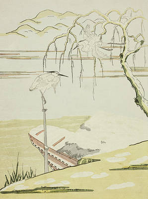 Herons Drawing - Egrets In The Snow by Suzuki Harunobu