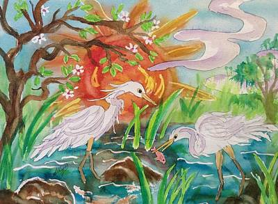 Egrets Fishing At Sunset Original