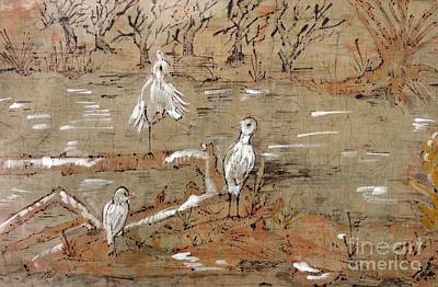 Egret Batik Mixed Media - Egrets On Driftwood by Caroline Street