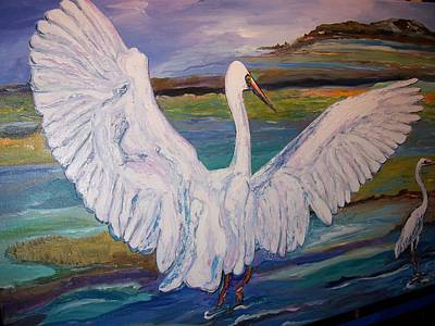 Painting - Egrets by Ray Khalife