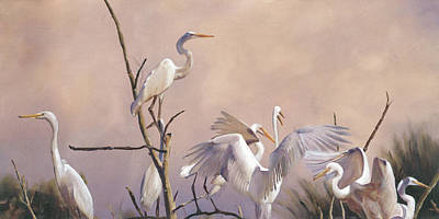 Grande Painting - Egrets Without Regrets by J Luis Lozano
