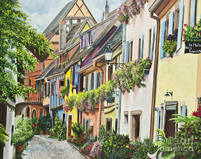Hanging Baskets Painting - Eguisheim In Bloom by Charlotte Blanchard