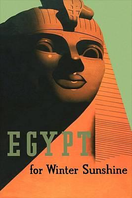Mixed Media - Egypt For Winter Sunshine - Sphinx Of Giza - Retro Travel Poster - Vintage Poster by Studio Grafiikka