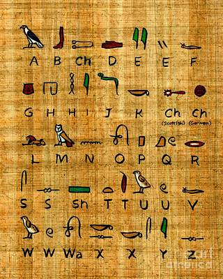 Papyrus Painting - Egyptian Alphabet by Pet Serrano