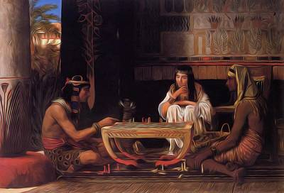 Egyptian Chess Players Painting - Egyptian Chess Players 1865 by Alma Tadema Lawrence