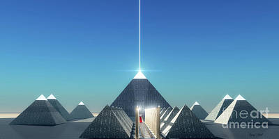 Egyptian Mummy Digital Art - Egyptian Cosmic Pyramids by Corey Ford